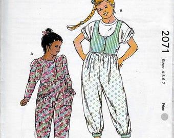 Girls' Jumpsuits Kwik Sew # 2071 Sz 4 - 7 OOP Master Pattern FF ©1991 NIP
