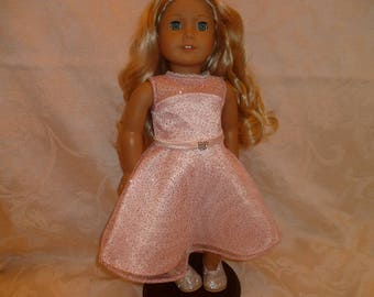 Pink Glitter 18 Inch Hand Made Spring Doll Dress and Pink Roses Hair Clip, Glitter Doll Dress & Roses Barrett  fits American Girl Dolls