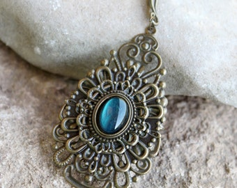 Steampunk bronze and blue necklace pendant