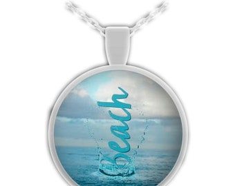 Beach Splash Beach Lover Necklace Pendant Gift So Beachy