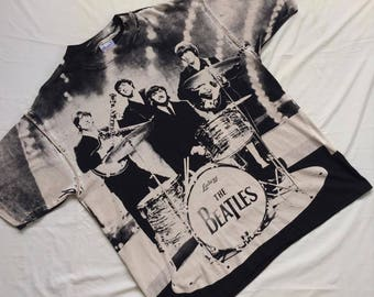"Vintage THE BEATLES All Over Print shirt ""RARE"""