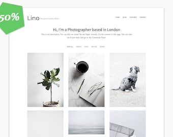 50% - Lino - Wordpress Portfolio Theme - Premade - Self Hosted - Wordpress Theme for Creatives - Responsive