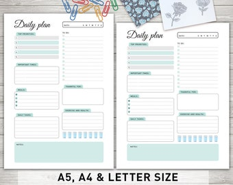 "Daily Planner Inserts: ""DAILY PLANNER Printable"" Daily To Do List, Day Organizer, Daily Schedule, Desk Planner"