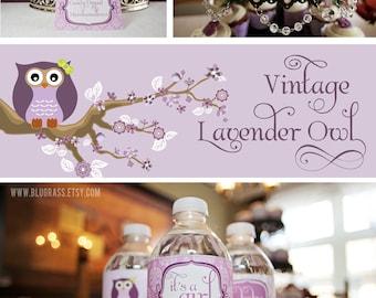 DIY printable baby shower or birthday party package - vintage owl
