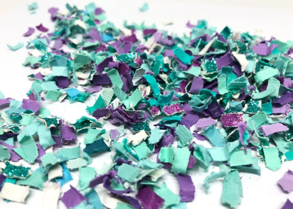 Mermaid Confetti - Aqua + Purple + White --- Tossing Confetti - Table Scatter - Piñata Filler - Basket Fill - Baby Shower - Confetti Toss