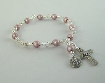 Pink Saint Christopher Rosary Bracelet with Miracle Beads