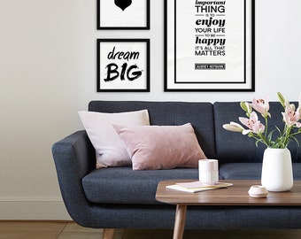 Audrey Hepburn Quote Print -The most important thing is to enjoy your life - Instant  Download Printable - Inspirational Quote, Home Decor