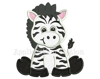 Zoo Baby Zebra Applique Machine Embroidery Design Safari Cute animal INSTANT DOWNLOAD