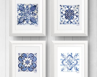 Talavera Tile Wall Art, Azulejo Portuguese Tile Art, Mexican Tile, Tile Art Print, Pattern Tile Art, Set Of Four