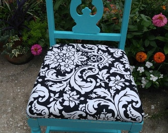 Turquoise chair,Turquoise black,white upholstered chair,Upholstered chair,Antique chair,Bohemian decor,Accent chair