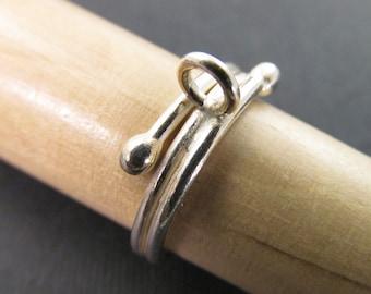 Size 6 Thai Hill Tribe Silver Embellishment Charm Ring Rg08