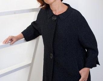 Black brocade jacquard opera coat, 60s women coat, lined women coat, three quarter sleeve coat, 60s black coat