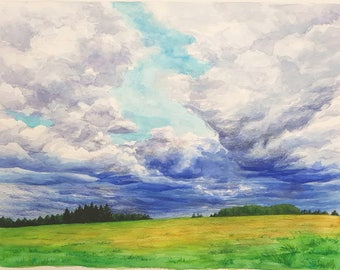Original watercolour painting, Storm Clouds over Field