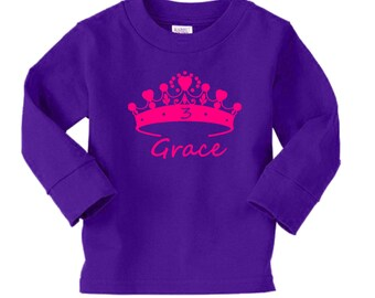 Personalized Tiara Princess Crown Birthday Shirt - long sleeves - any age and name - pick your colors!