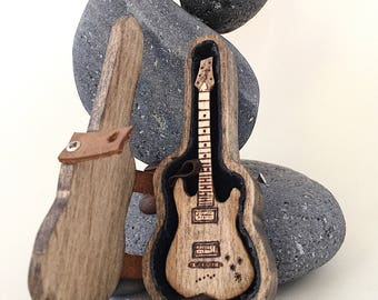 """3"""" guitar and guitar pick holder Personalized for him Guitar gift for musicians Gift for music lover Guitar gifts for men Guitar pick box"""