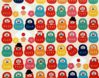 Dharma Doll Stickers - Plum Blossom Stickers - Japanese Stickers - Fan Stickers - Cute Faces   S94