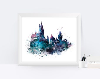Hogwarts Art Print Hogwarts Castle Poster Harry Potter Watercolor Artwork Harry Potter Gift Christmas Gift Nursery Kids Wall Art Home decor
