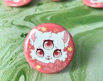Kawaii 3 Eyed Cat Pinback Button or Magnet