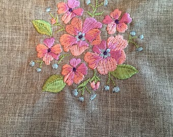 Floral Embroidery Design: Terry Cloth or Flour Sack Tea Towel