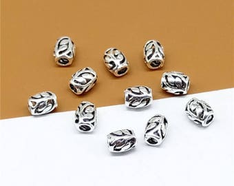 14 Sterling Silver Leaf Beads, 925 Sterling Silver Leaf Barrel Beads, 925 Sterling Silver Leaf Barrel Bead 6mm x 4mm x 2mm - LA196