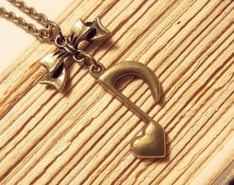 Bronze Music Note Necklace