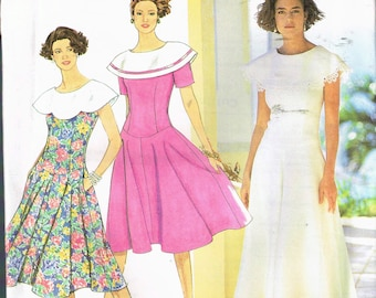 Size 6-14 Misses' Dress Sewing Pattern - Fitted Bodice Dress With Flared Skirt - Wide Sailor Collar Dress - Lace Collar - Simplicity 7326