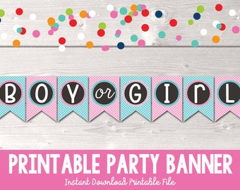 Printable Gender Reveal Party Banner Instant Download Boy or Girl Bunting PDF with Pink and Blue Chevron Stripes Polka Dots and Bow Bowtie