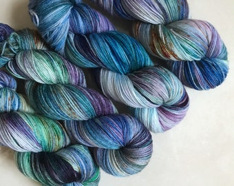 Splash Pad Party Exclusive Solo Fingering 'Blue Lagoon' Hand Dyed Yarn