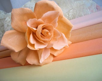 Peach Pink Rose Crepe Paper Flower 6 Inch Diameter Bridesmaid Bouquet Beauty Inspired Tonal Cake Deco Gifting Decor Handmade by handcraftUSA