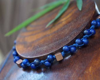 Lazuli Choker Necklace, Blue Gemstone Necklace, Blue Macrame Choker, Boho Necklace