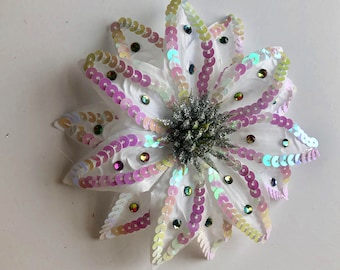 White Sparkle Hair Flower