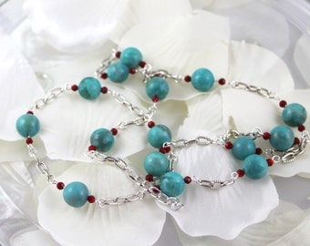 Turquoise (dyed) jasper and red jade necklace gift for her women's silver jewelry