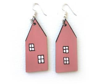 scandinavian pink house earrings