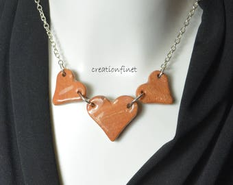Silver chain with 3 hearts clay marbled Valentine