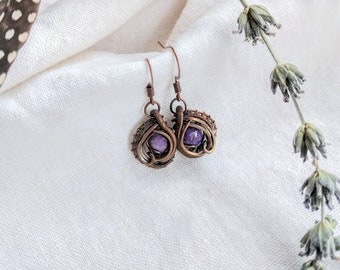 charoite earrings, copper, wire wrapped, wire wraps, wire wrap, handmade, charoite, crystal earrings, gemstone earrings, handmade earrings