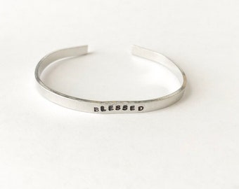 Handstamped Cuff - BLESSED - Ready to ship - SALE