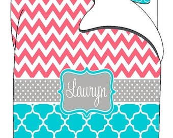 Memorial On Sale Personalized Custom Chevron and Quatrefoil Bedding- available any color -Twin XL Bedding - Perfect for DORM and Roommate