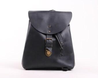 Charlotte Mini Backpack (Black Oiled Leather)