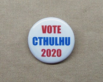 "HP Lovecraft Button Vote Cthulhu 2020 1.25"" Mythos Monster Candidate Pinback Badge"
