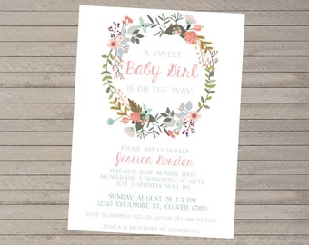 """Floral Wreath Baby Shower Invitation -- Baby Sprinkle -- Baby Girl -- Simple Floral -- Mint & Pink -- 5x7"""" Printable Invitation"""