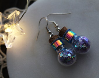 Fae • Magical potion bottle earrings of fairy dust with holographic band