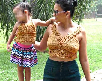 Mommy and Me crochet cropped top set
