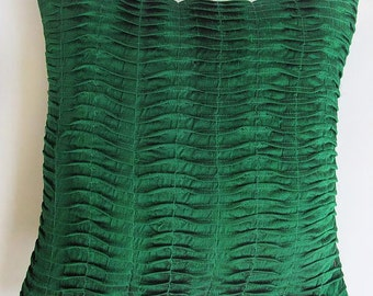 Dark green pleated throw pillow 16 inch silk cushion cover  decorative  dupioni cushion throw pillow  cover 16inch. On sale 20 % off