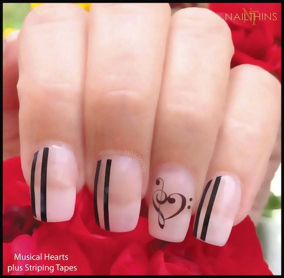 Hearts Music Note Nail Decal Music Heart nail decal NAILTHINS Nail Design  from NAILTHINS on Etsy Studio - Hearts Music Note Nail Decal Music Heart Nail Decal NAILTHINS Nail