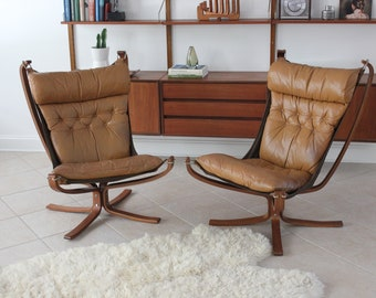 Mid Century Modern Leather Falcon Chairs By Sigurd Ressell