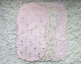 Set of 3 Terry Cloth Burp Cloths, Pink and Gold Baby Girl Burp Cloths, Little Bird Theme, Gold Rose
