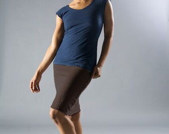 High Waist // Hemp Lycra Knit // Stretchy // Pencil Skirt // Eco Fashion