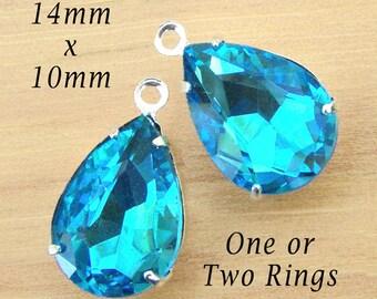 Aqua Blue Glass Beads - Rhinestone Teardrops - 14x10 Pear - Set Stones - 14mm x 10mm Pear - Bridesmaid Jewels - One Pair