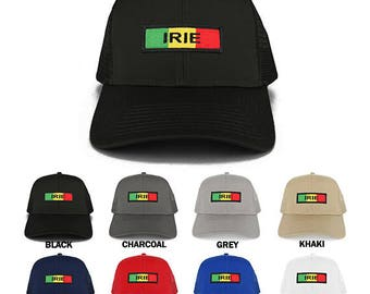 Irie Green Yellow Red Embroidered Iron on Patch Adjustable Trucker Mesh Cap (30-287-AFRICA-32)