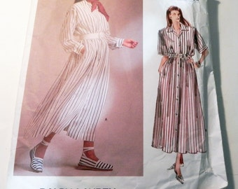 """1980s Ralph Lauren Front Button House dress casual long short sleeves sewing pattern American Designer Vogue 1873 Size 14 Bust 36"""""""